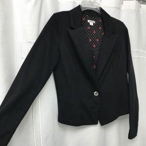 Black polyester/cotton blazer